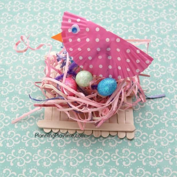Popsicle Stick Bird's Nest Craft with a mama bird.