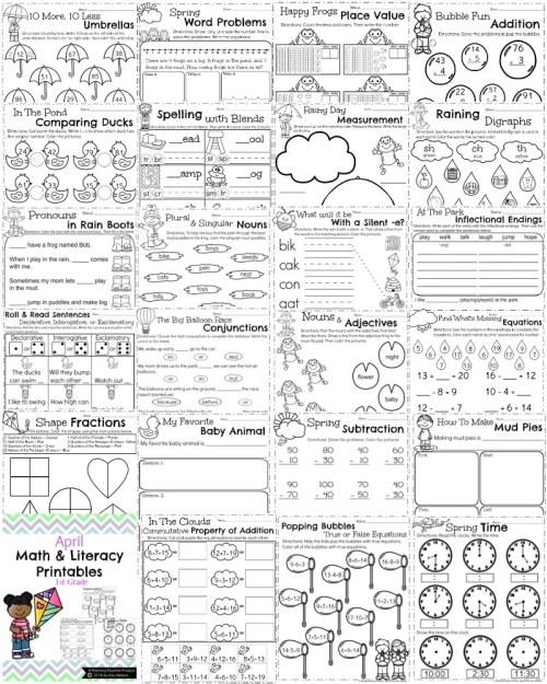 small resolution of First Grade Worksheets for Spring - Planning Playtime