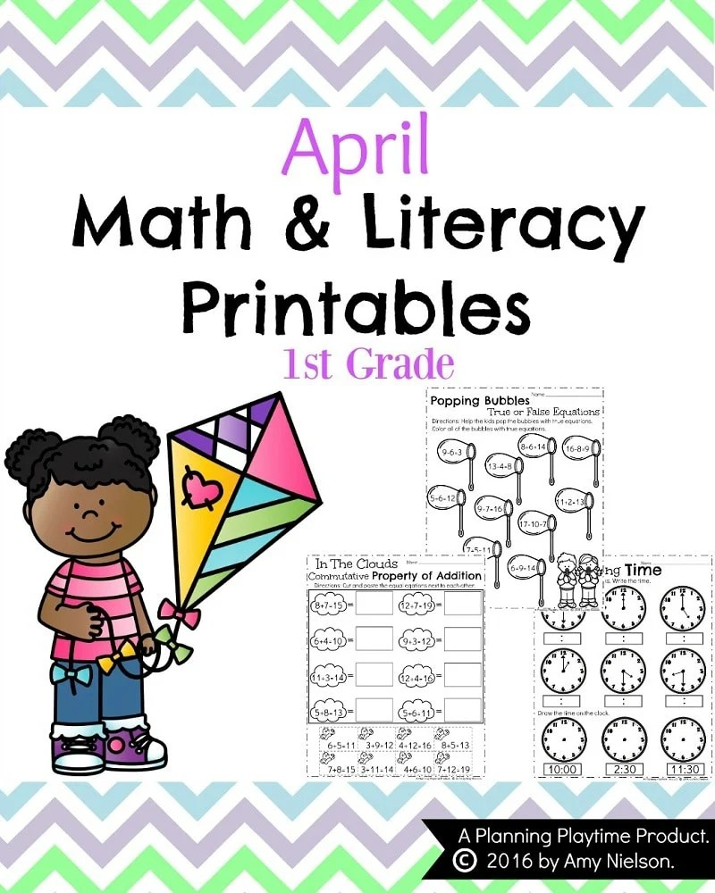medium resolution of First Grade Worksheets for Spring - Planning Playtime