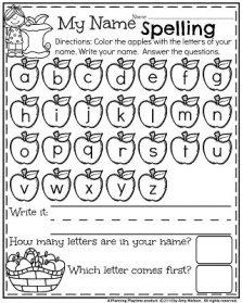 Fall Preschool Worksheets - Apple Name Spelling.