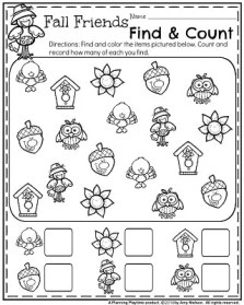 November Preschool Worksheets - Fall Friends find and count.