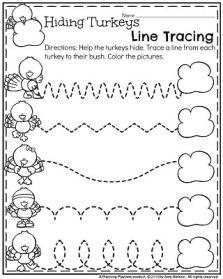 November Preschool Worksheets - Hiding Turkeys Line Tracing.