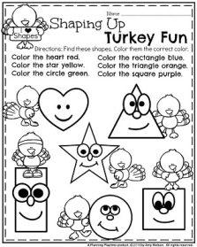 November Preschool Worksheets - Turkey Shapes.