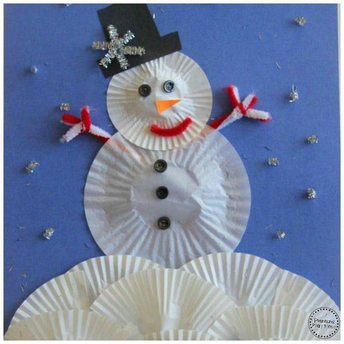 Cupcake Liner Snowman Craft for Kids.