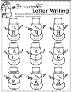 Winter preschool worksheets snowman letter recognition and writing page also december planning playtime rh planningplaytime
