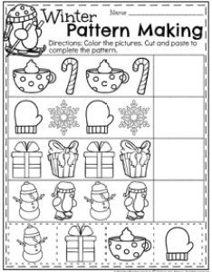 December preschool worksheets complete the winter patterns also planning playtime rh planningplaytime