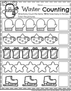 Winter preschool worksheets count and color things also december planning playtime rh planningplaytime