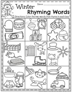 Winter preschool rhyming words worksheets for january also planning playtime rh planningplaytime