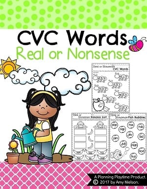 Real or Nonsense Words Worksheets