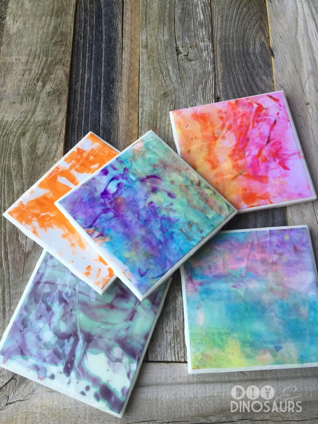 Beautiful DIY Kids Art Coasters Mother's Day gift idea for kids.