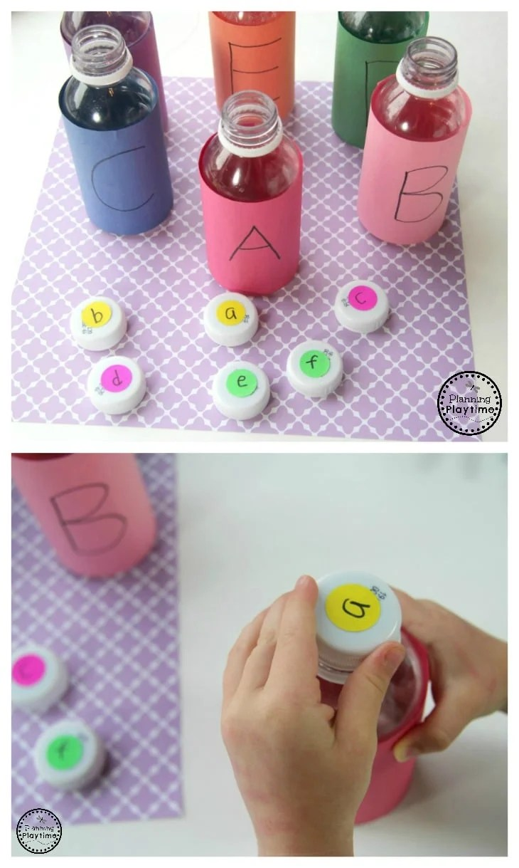 Juice Bottle Letter Matching Activity for Preschool