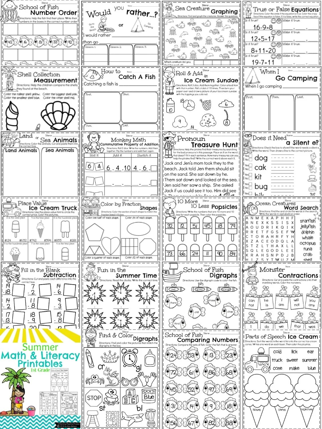 Printables Of Summer Fun Worksheets 1st Grade