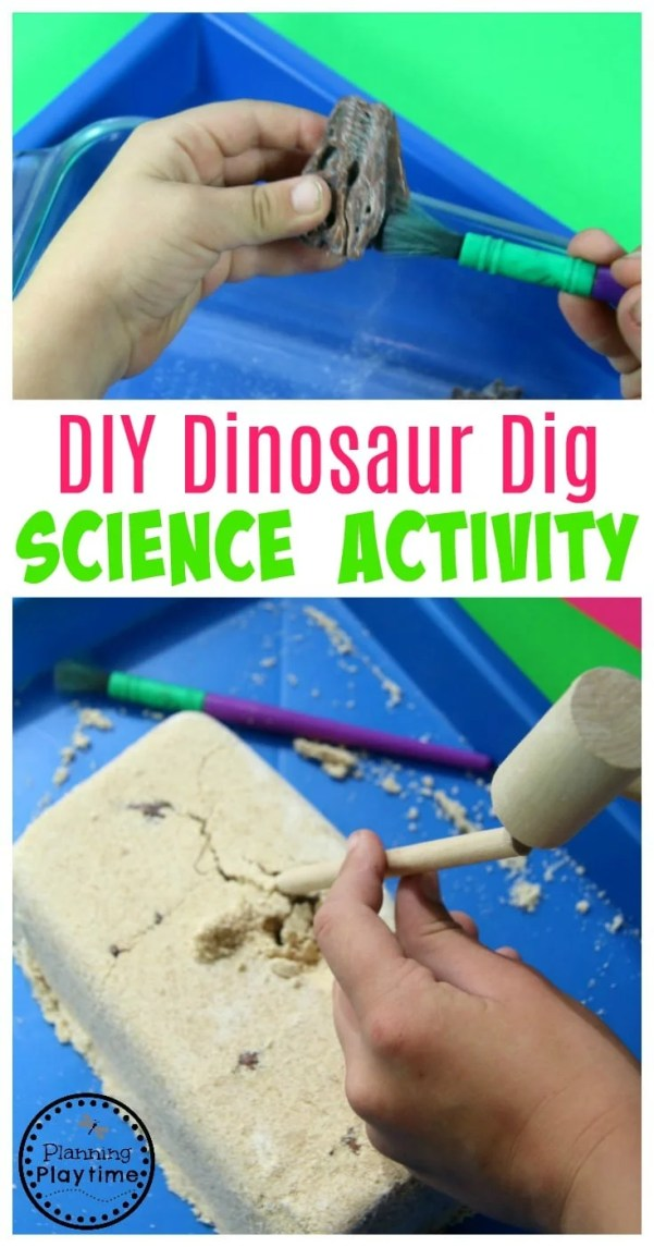 Super Fun DIY Dinosaur Dig Recipe - Awesome Science Activity for kids.