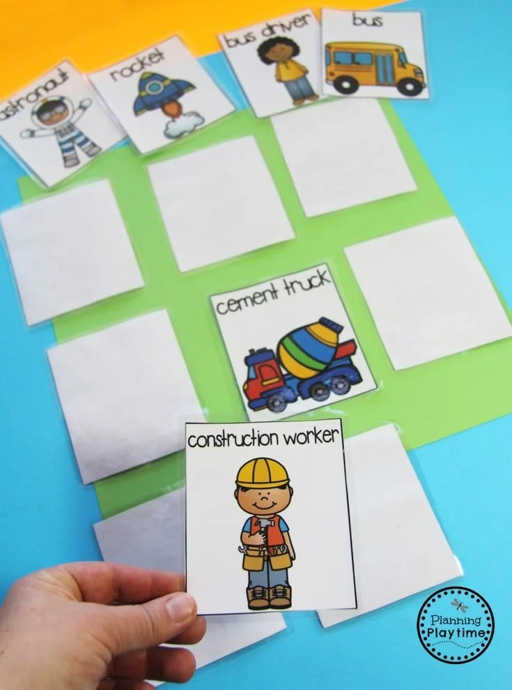 Community Helpers Unit for Preschool - Community Helpers Memory Game