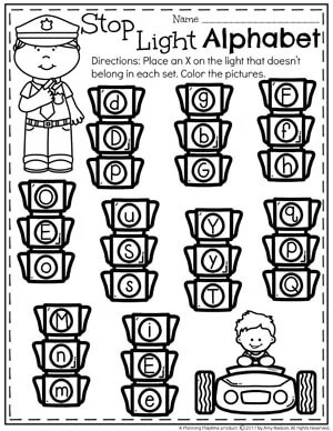Community Helpers Worksheets - Alphabet Practice. Which one doesn't belong.