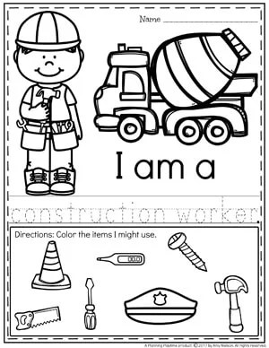 Community Helpers Worksheets - Construction Worker