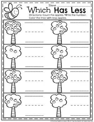 Comparing Numbers - Which Tree has Less Apples Math Worksheet for Kindergarten
