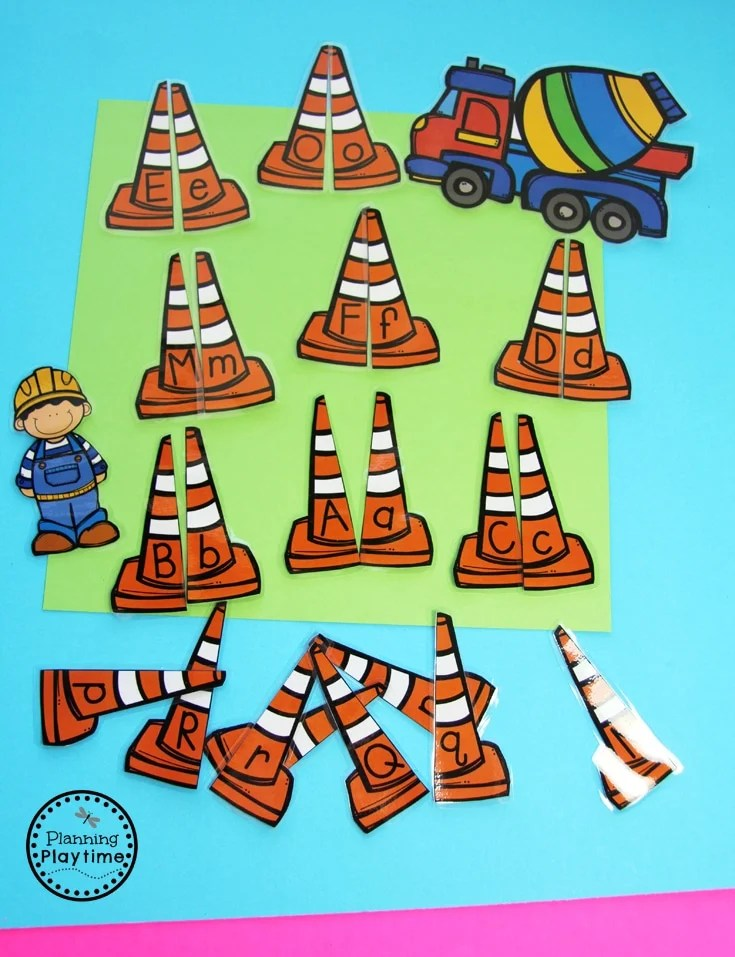 Construction Worders Alphabet Match for Preschool