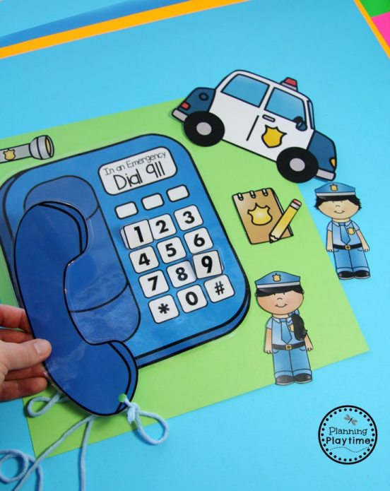 Emergency Safety and Community Helpers Activity for Preschool - Dial 911 with 3D Buttons.
