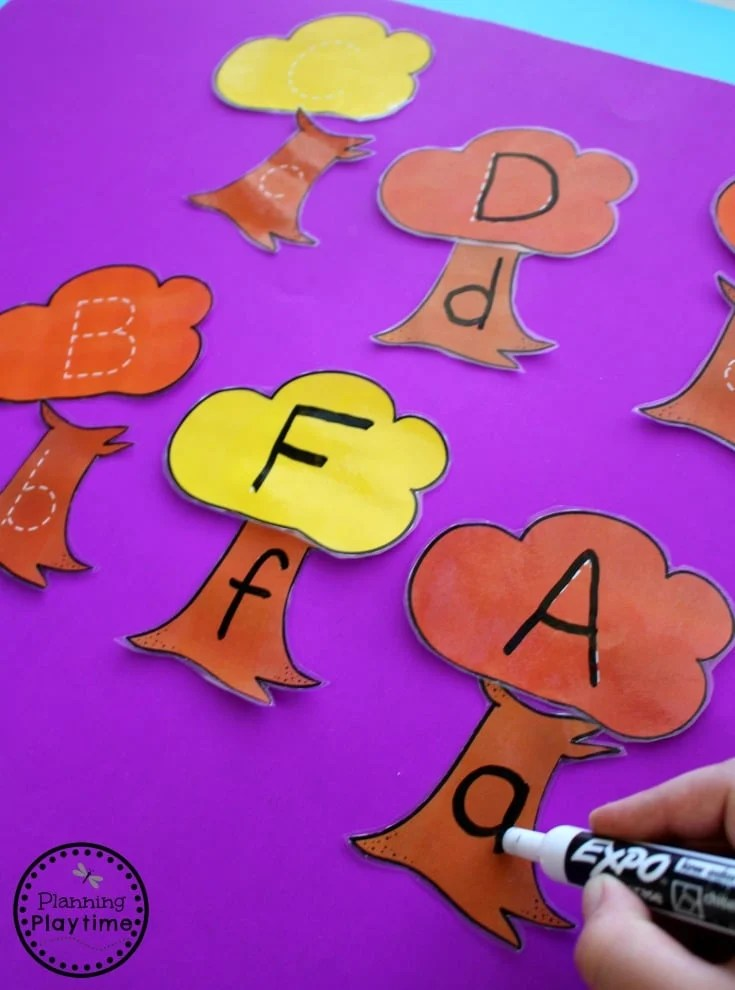 Fall Alphabet Tracing Activities for Preschool - Fall Tree Puzzles.