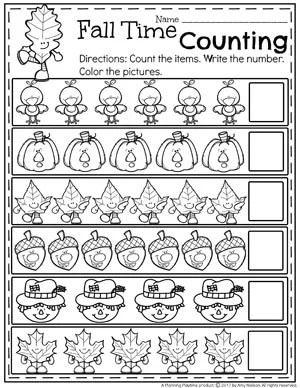 Fall Counting Worksheets for Preschool.