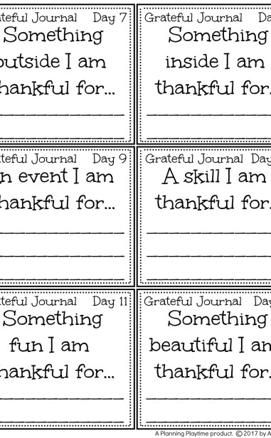 Gratitude Journal Prompts for the month of November.