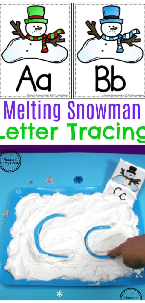 Melting Snowman Letter Tracing Activity for kids.