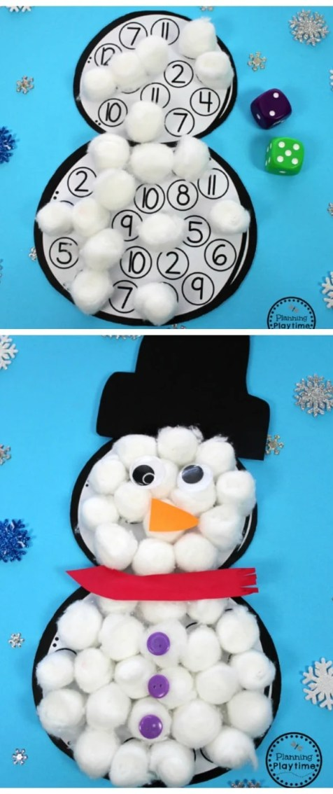 Roll and Cover Snowman Counting Craft for Preschool.