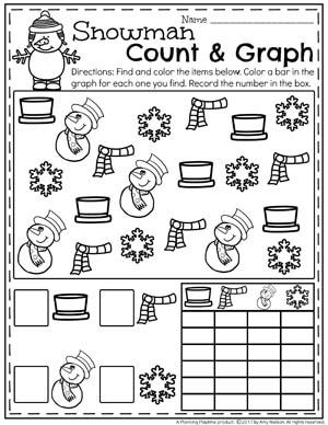 Snowman Graphing Worksheet for Preschool - Fun Winter Preschool Theme