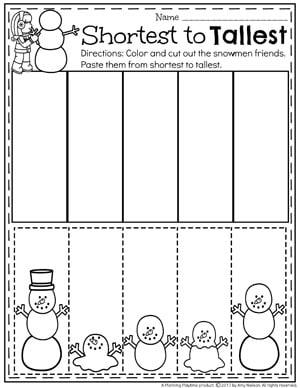Sort by Size Winter Worksheet for Preschool