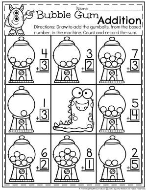Bubble Gum Addition Worksheet for Kindergarten.