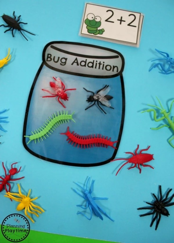 Bug Counting Addition Game for Kindergarten.
