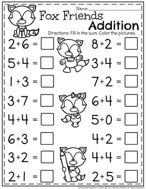 Kindergarten Addition Worksheets - Math Units for Kindergarten. II