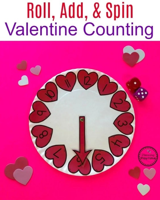 Cute Valentine Counting Activity for Preschool or Kindergarten. #valentinesgame #counting #preschool #addition