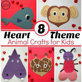 Heart Shaped Animals - Valentines Crafts for Preschool