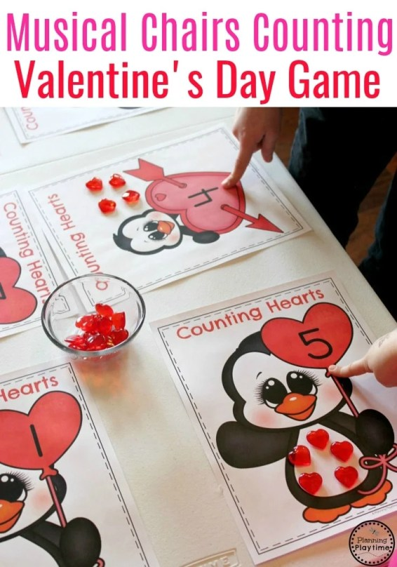 Preschool Valentine's Game - Musical Chairs Counting Hearts. #valentinesgames #preschool #counting