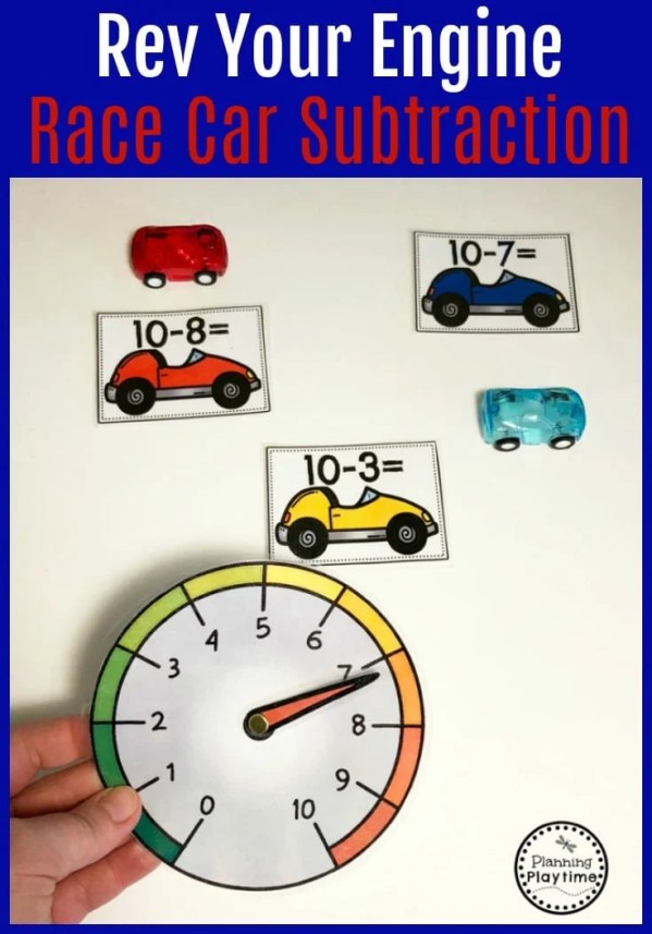 Rev Your Engines - Race Car Subtraction Spinner for Kids.