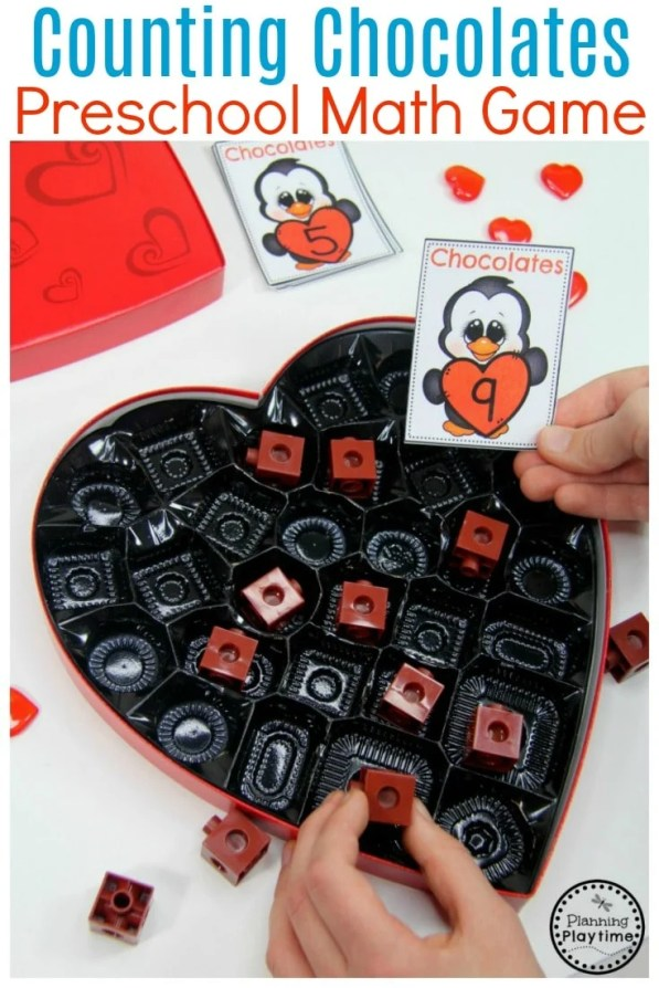 Valentine Counting Activity for Kids. So Fun! #valentines #preschool #preschoolworksheets