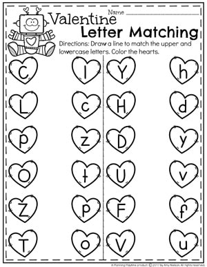 Valentine Letter Matching - Upper and Lowercase Letters #valentines #preschoolworksheets #preschool #worksheets