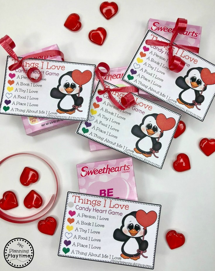 Valentine Party Games Idea - Things I Love Candy Heart Game #valentinesday #diyvalentines #valentinesparty