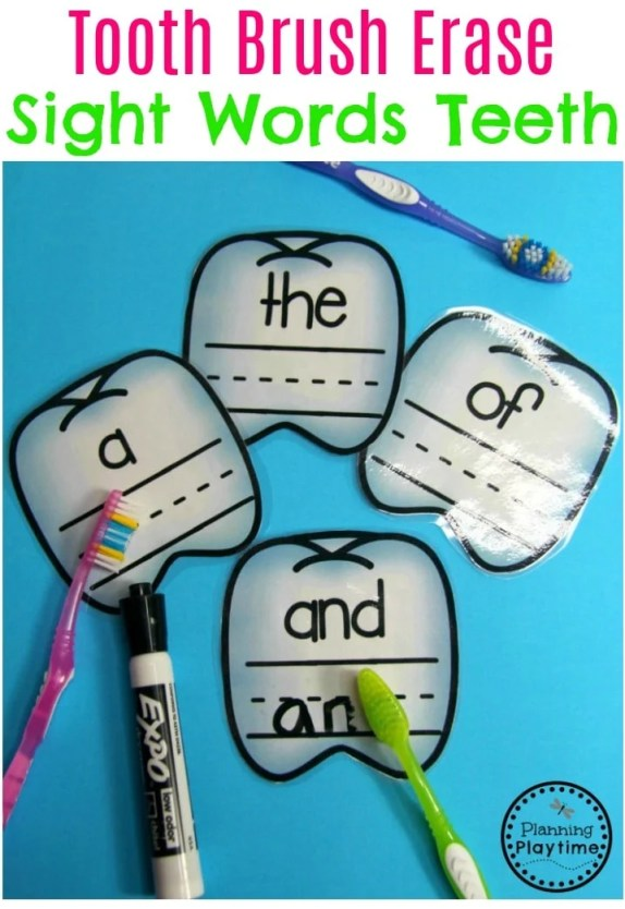 Dental Health Theme - Write the sight words. Erase with a tooth brush. #dentalhealth #preschool #preschoolworksheets #preschoolcenters