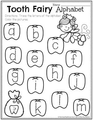 Dental Health Worksheets for Preschool - Tooth Fairy Letter Tracing