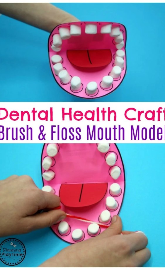 Preschool Dental Health Craft - Mouth Model for Brushing and Flossing. #dentalhealth #preschool #preschoolworksheets #preschoolcenters