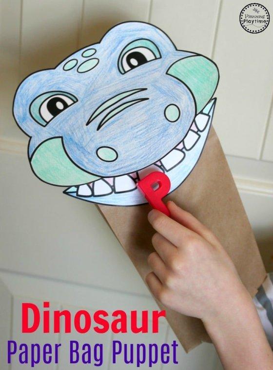 Preschool Dinosaur Craft - Dinosaur Paper Bag Puppet. #dinosaurcraft #preschoolcrafts #preschool #dinosaurs
