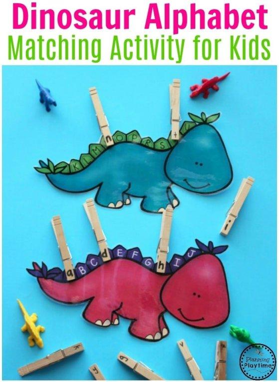 Preschool Dinosaur Letter Matching Activity - Preschool Center #preschool #dinosaurtheme #dinosaur #preschoolactivities