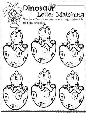 Preschool Dinosaur Worksheets - Color by Letter Worksheets for Preschool #dinosaurworksheets #preschoolworksheets #preschool #dinosaurs #letterworksheets