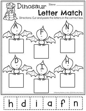 Preschool Dinosaur Worksheets - Letter Matching Cut and Paste #letterworksheets #dinosaurworksheets #preschoolworksheets #preschool #dinosaurs