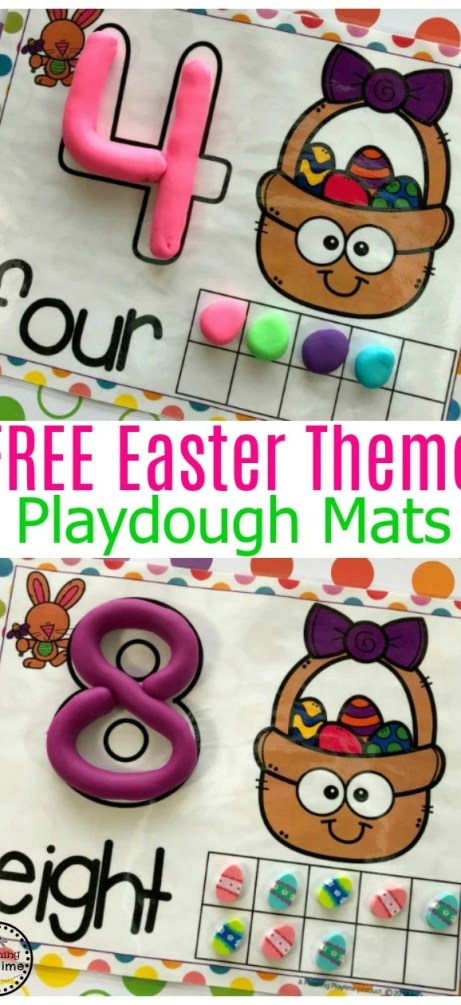 FREE Preschool Playdough Mats for Easter #playdoughmats #preschool #counting #preschoolcounting #preschoolworksheets #preschoolmath