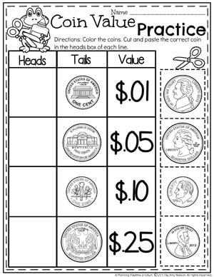 Coin Value Money Worksheets for Kindergarten #kindergartenmath #kindergarten #kindergartencenters #coinrecognition #moneyworksheets