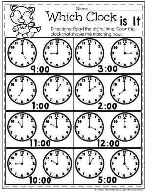 Digital and Analog Clocks - Telling Time Worksheets #kindergartenmath #kindergarten #kindergartencenters #tellingtime #timeworksheets #tellingtimeworksheets